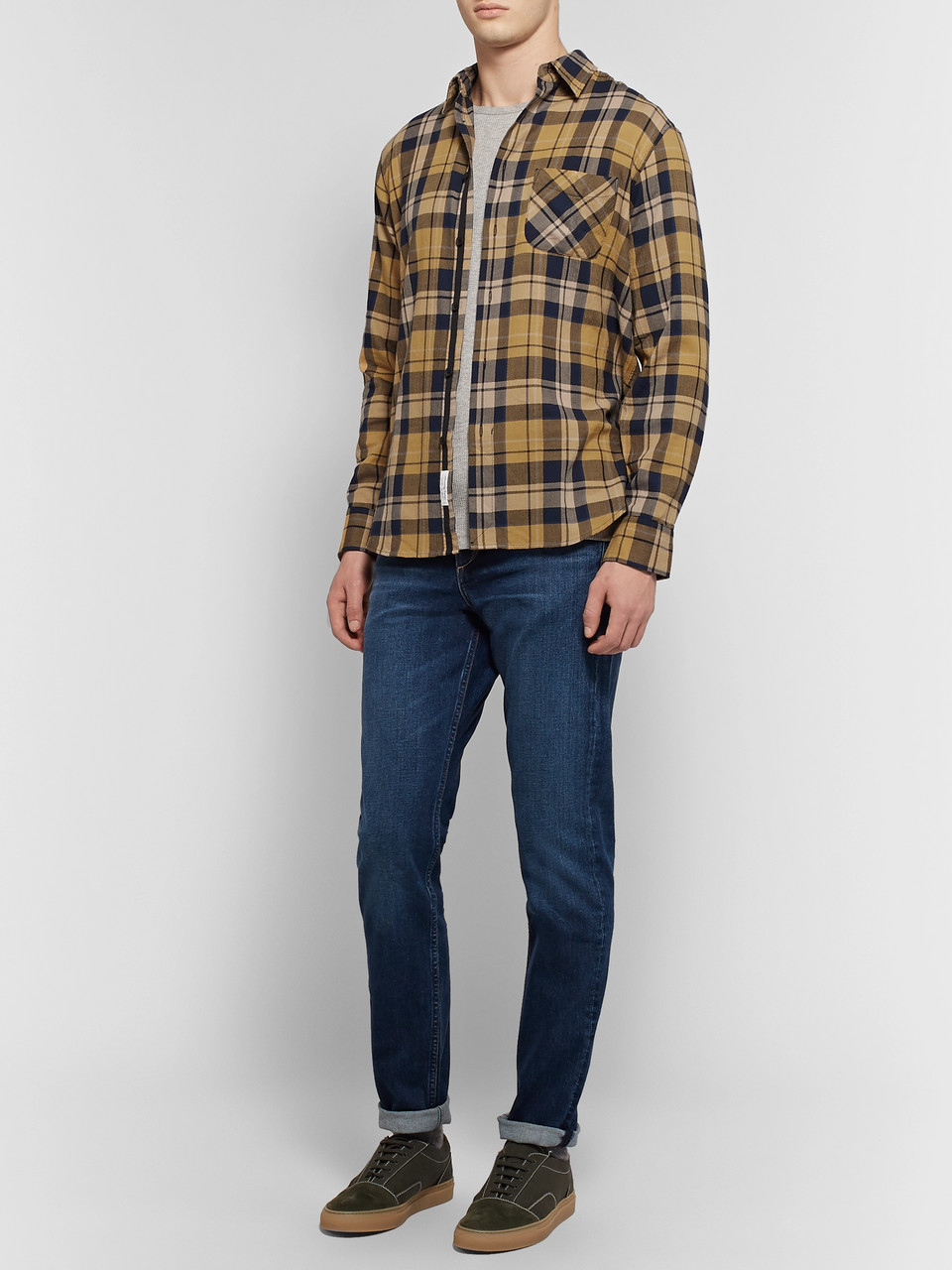 rag & bone Fit 3 Beach Checked Herringbone Cotton-Blend Shirt