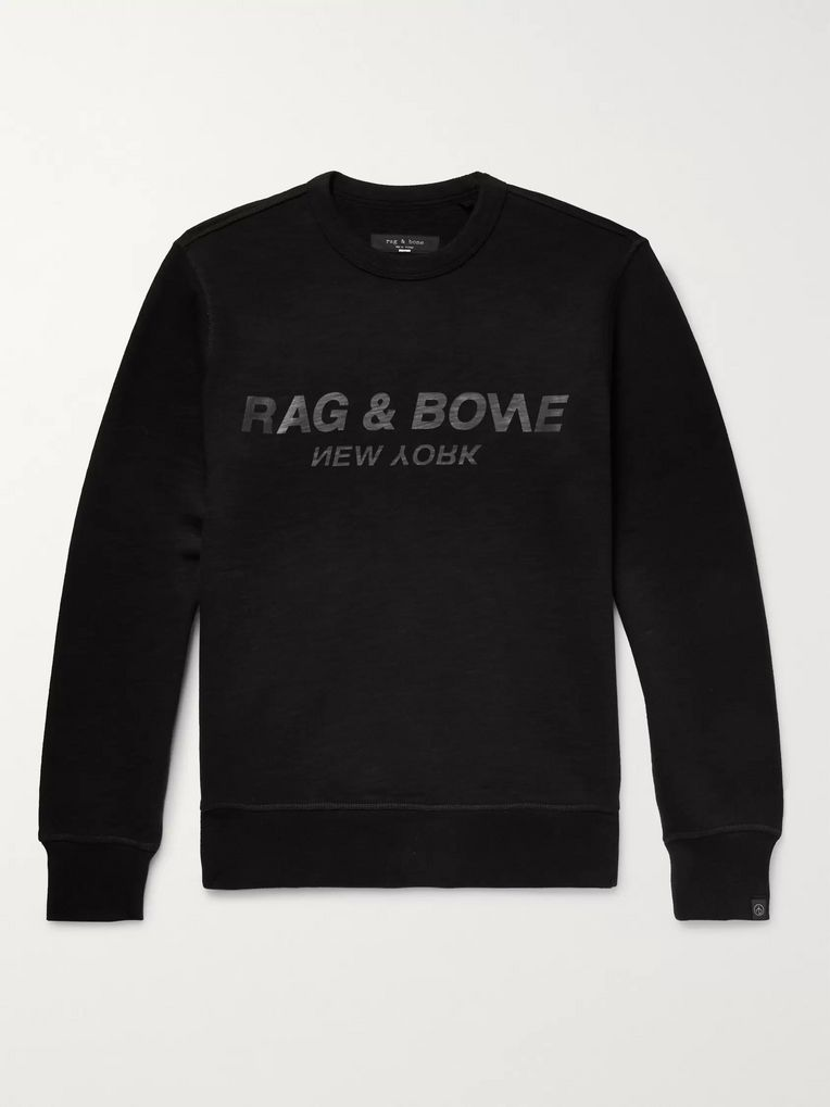rag & bone Logo-Print Loopback Cotton-Jersey Sweatshirt