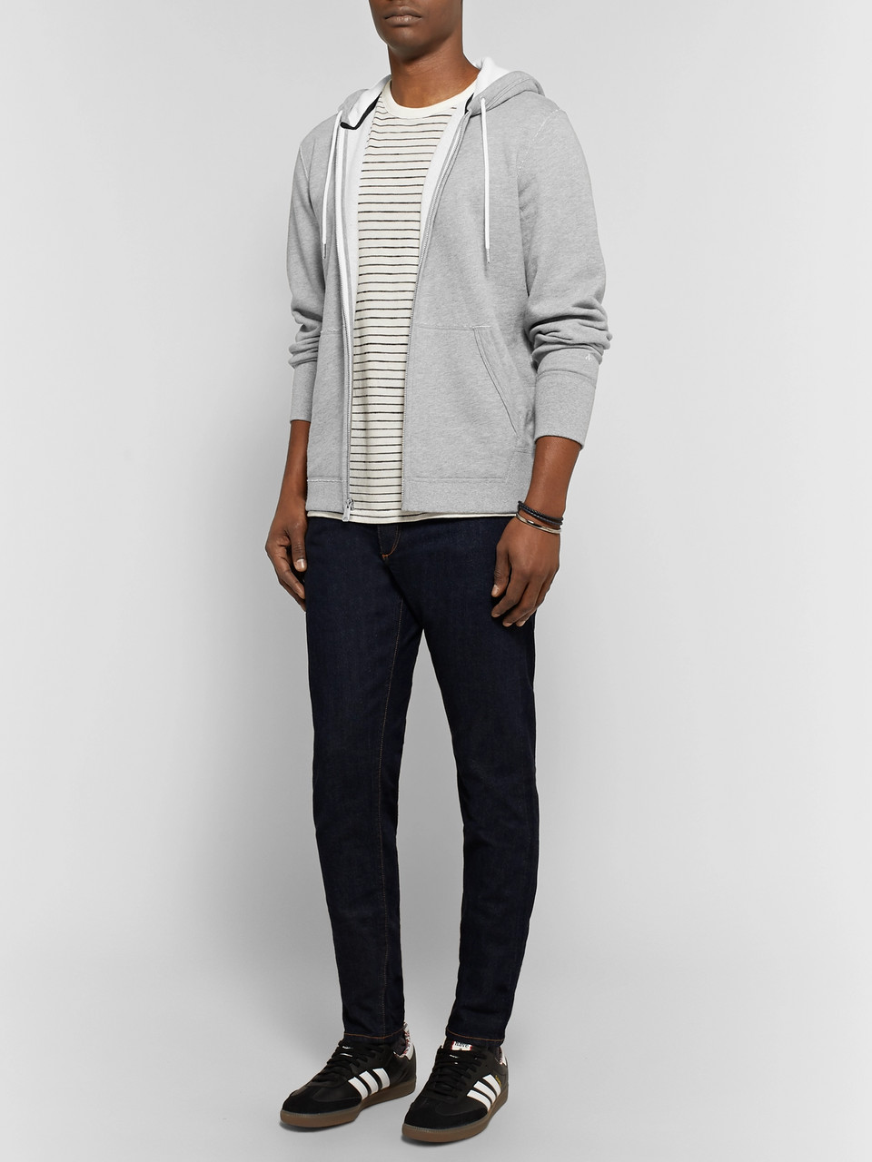 rag & bone Standard Issue Mélange Loopback Cotton-Jersey Hoodie
