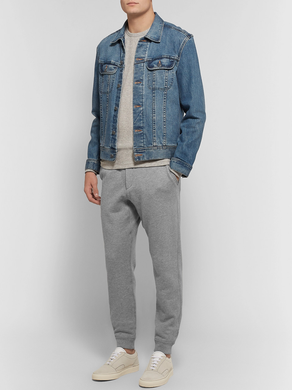 rag & bone Slim-Fit Tapered Mélange Cotton-Blend Jersey Sweatpants
