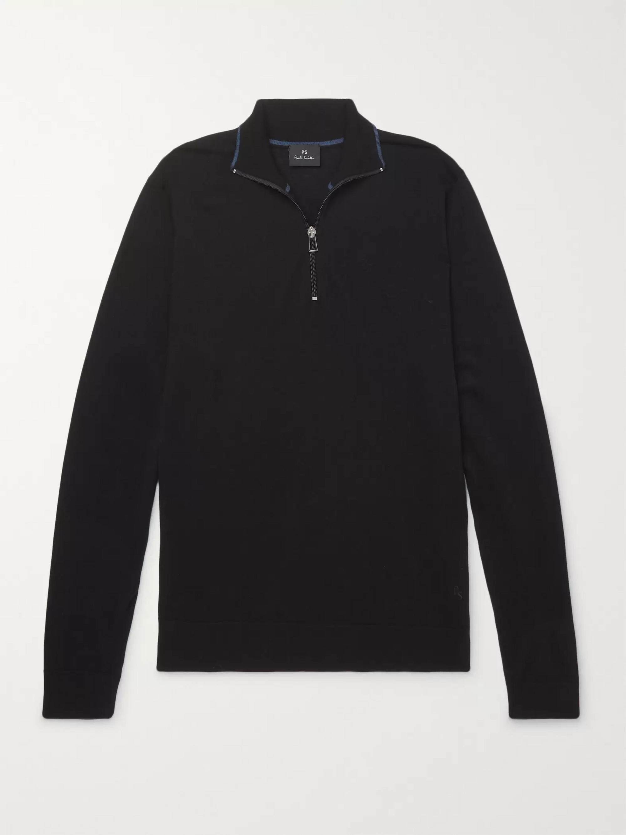 PS Paul Smith Merino Wool Half-Zip Sweater