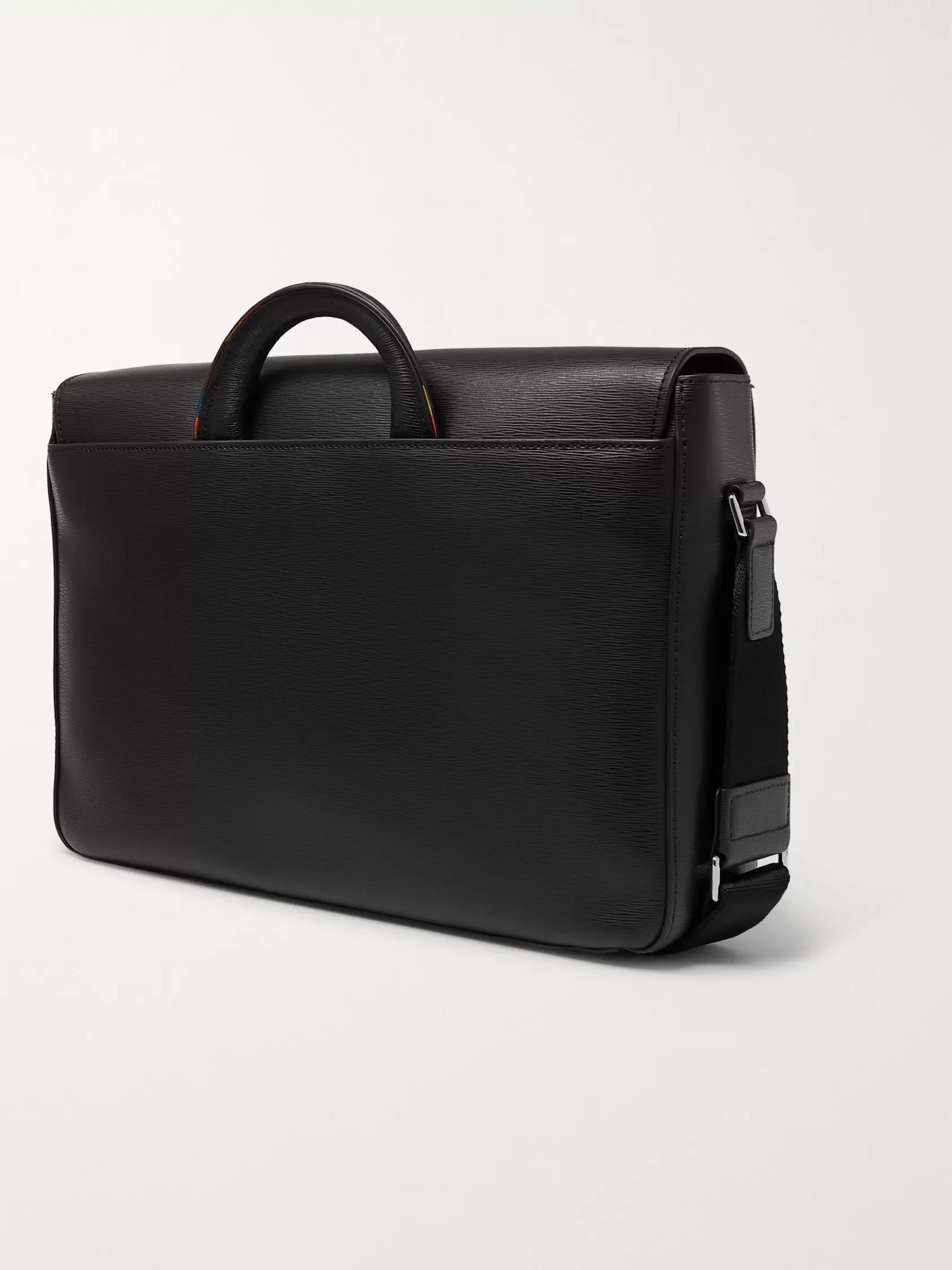 Paul Smith Contrast-Tipped Textured-Leather Messenger Bag