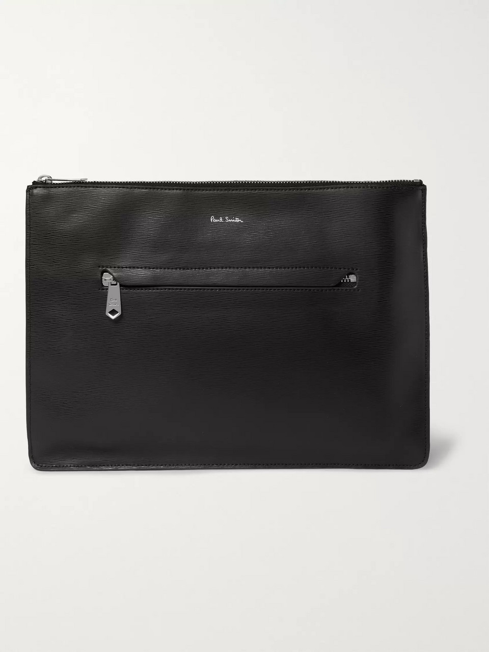 Paul Smith Stripe-Trimmed Textured-Leather Pouch