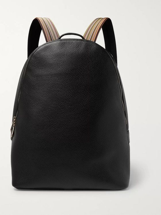 Paul Smith Stripe-Trimmed Full-Grain Leather Backpack