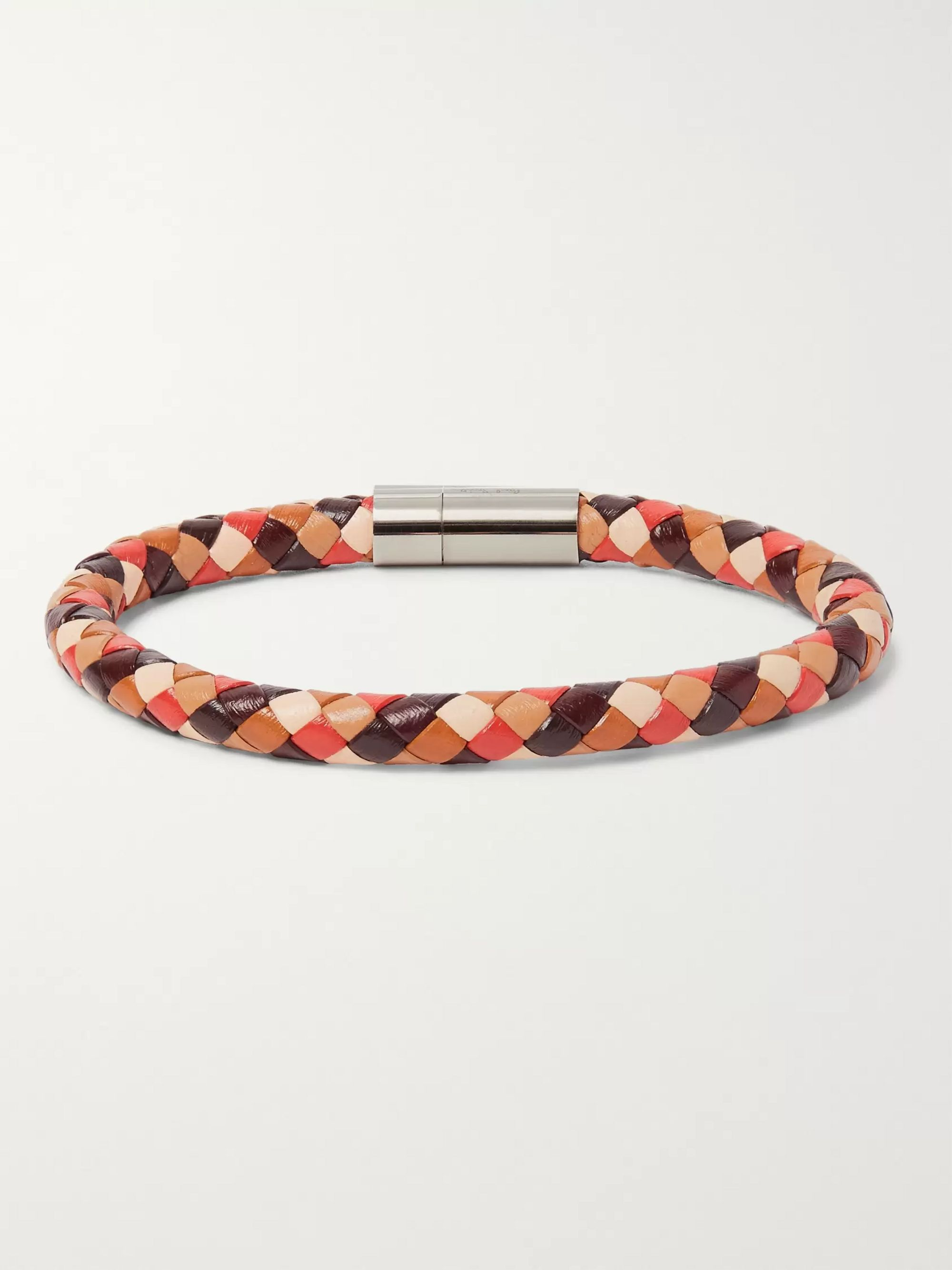 Paul Smith Woven Leather and Silver-Tone Bracelet