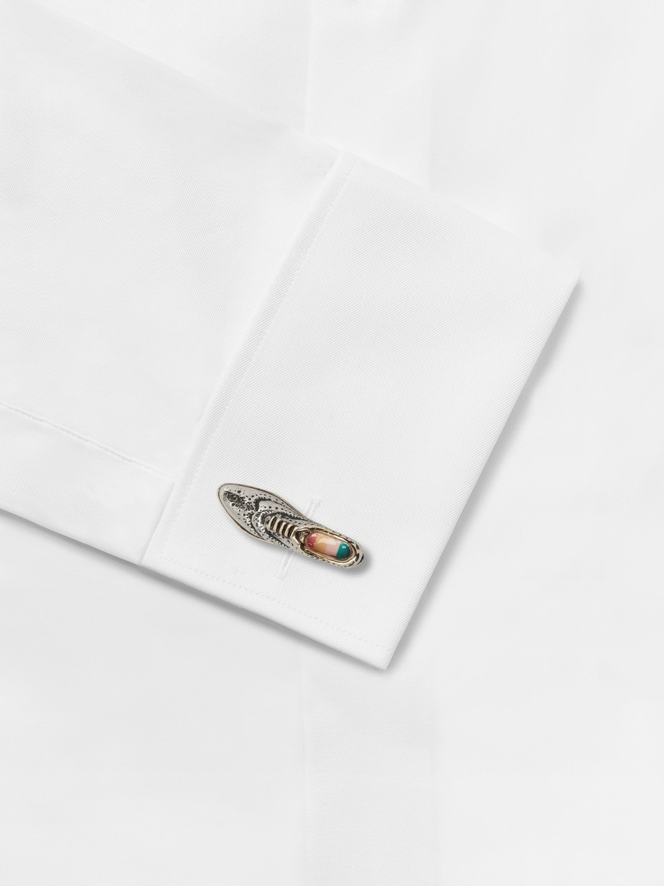 Paul Smith Brogue Enamel, Silver and Gold-Tone Cufflinks