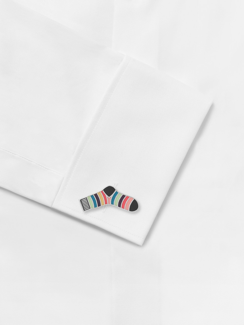 Paul Smith Striped Sock Silver-Tone and Enamel Cufflinks