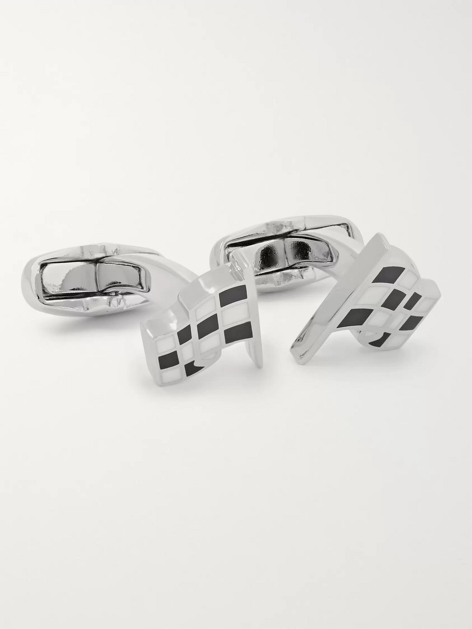 Paul Smith Checked Flag Silver-Tone and Enamel Cufflinks