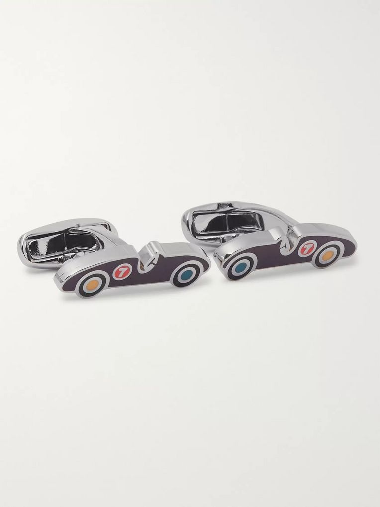 Paul Smith Sports Car Silver-Tone and Enamel Cufflinks