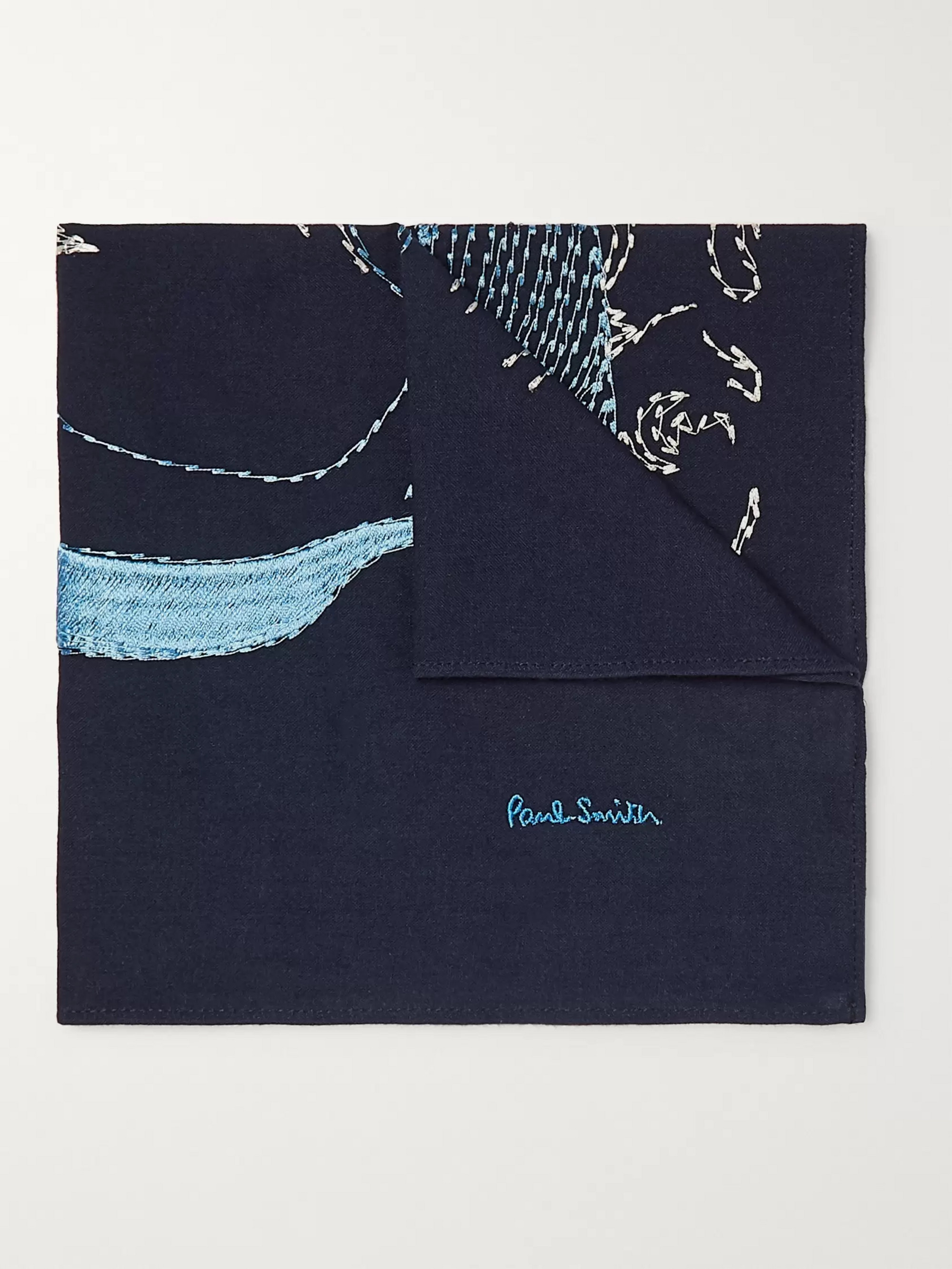 Paul Smith Embroidered Cotton Pocket Square