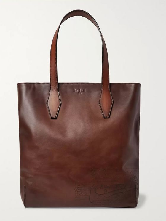 Berluti Scritto Leather Tote Bag