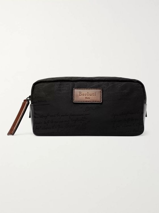 Berluti Scritto Leather-Trimmed Nylon Wash Bag