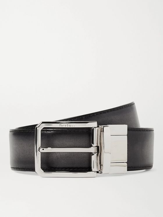 BERLUTI 3.5cm Scritto Reversible Leather Belt