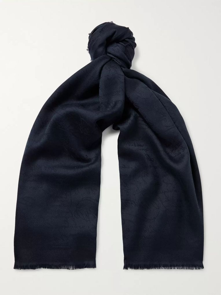 Berluti Scritto Cashmere, Silk and Wool-Blend Jacquard Scarf
