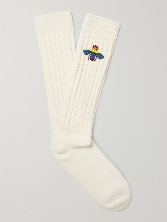 GUCCI Appliquéd Ribbed Knitted Socks