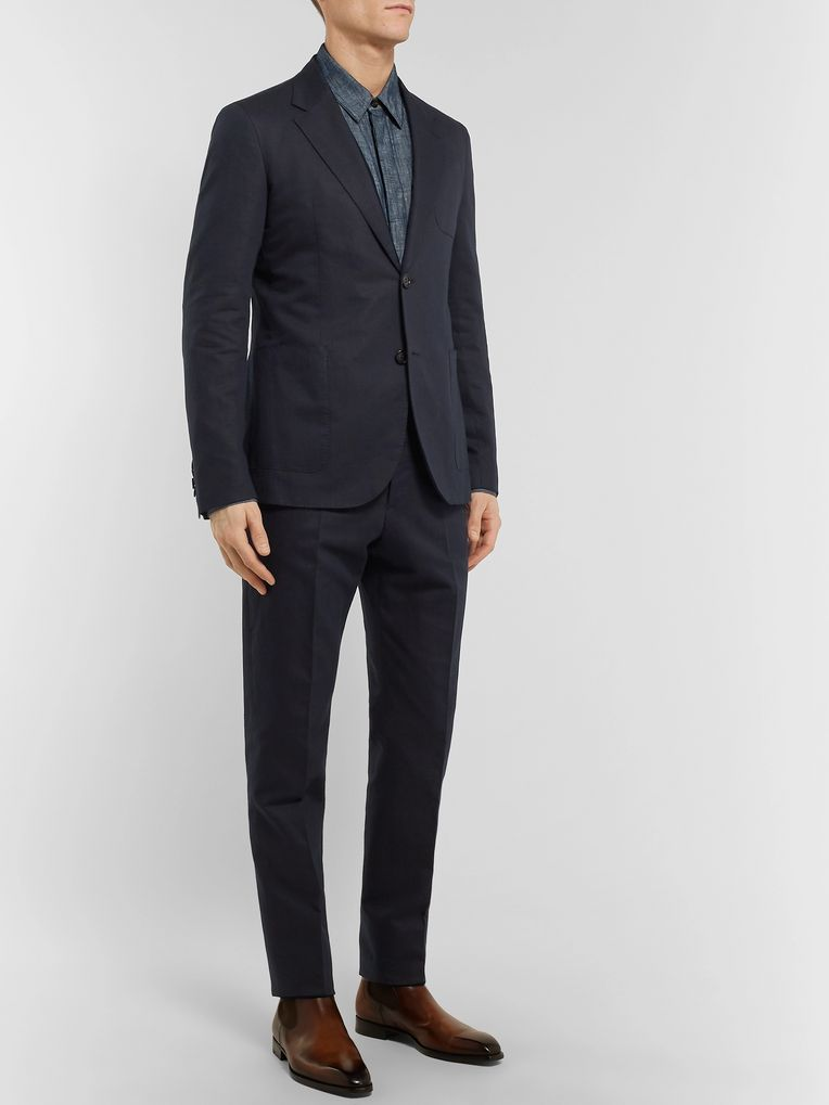 Berluti Navy Slim-Fit Unstructured Cotton and Linen-Blend Twill Suit Jacket