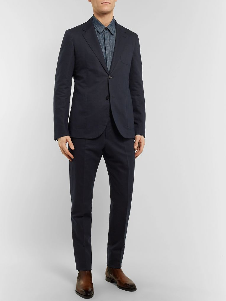 Berluti Navy Slim-Fit Cotton and Linen-Blend Twill Suit Trousers