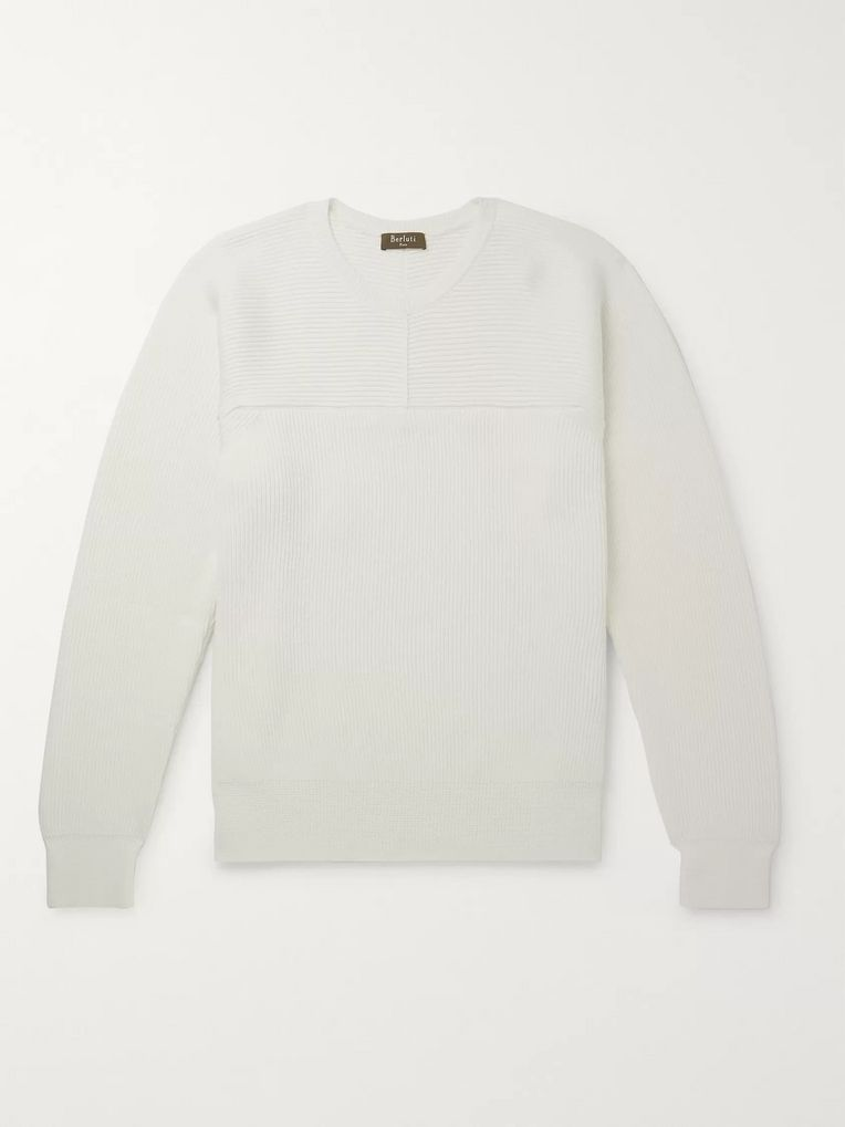 Berluti Ribbed Wool, Mulberry Silk and Cashmere-Blend Sweater