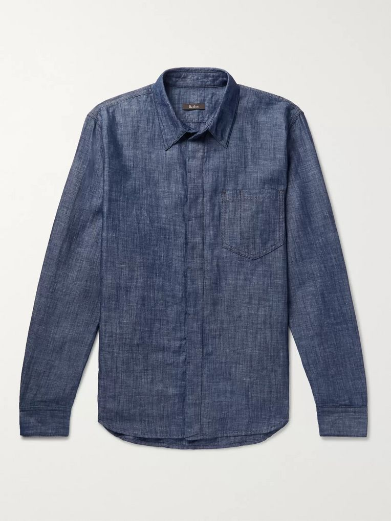 Berluti Leather-Trimmed Cotton and Linen-Blend Chambray Shirt