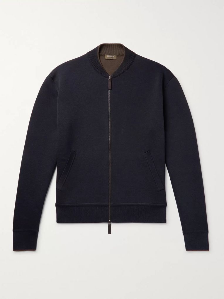 Berluti Double-Faced Silk and Cotton-Blend Zip-Up Cardigan