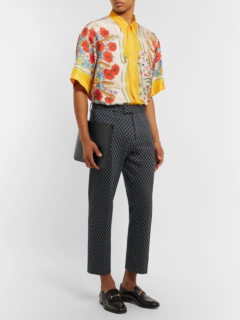 Gucci Button-Down Collar Embroidered and Printed Silk-Satin Shirt