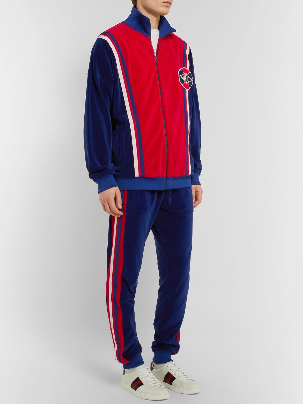 Gucci T-shirts LOGO-APPLIQUÉD STRIPED COTTON-BLEND SWEATSHIRT