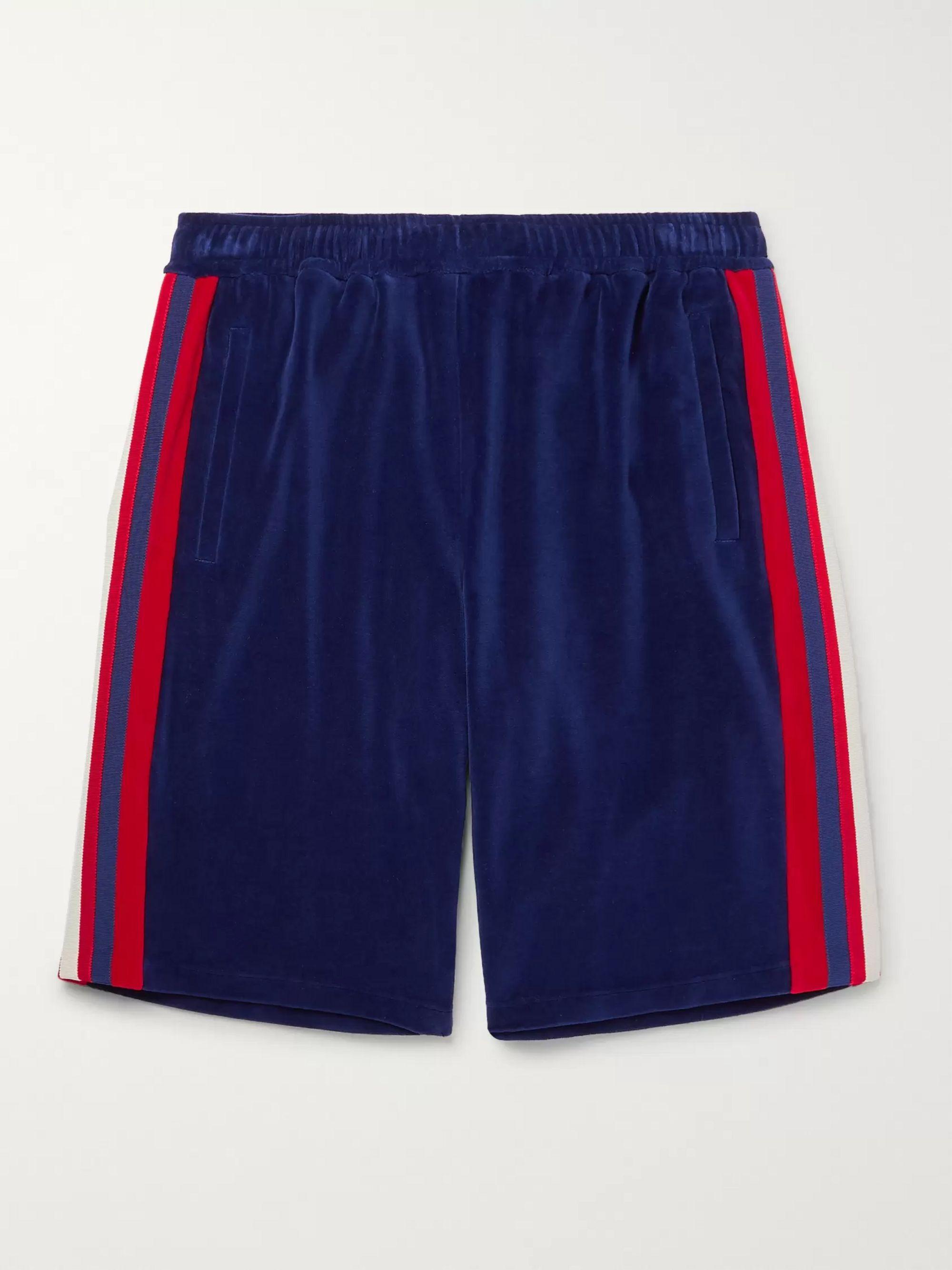 구찌 Gucci Grosgrain-Trimmed Velour Shorts,Blue
