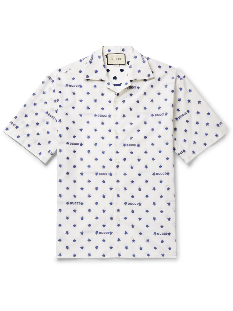Gucci Camp-Collar Fil Coupé Cotton-Poplin Shirt