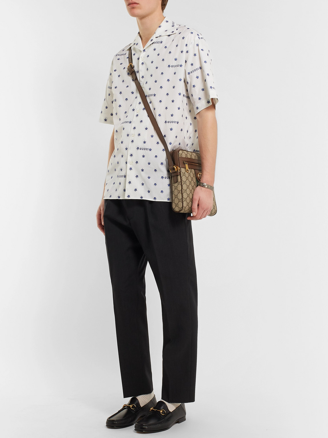 Gucci T-shirts CAMP-COLLAR FIL COUPÉ COTTON-POPLIN SHIRT