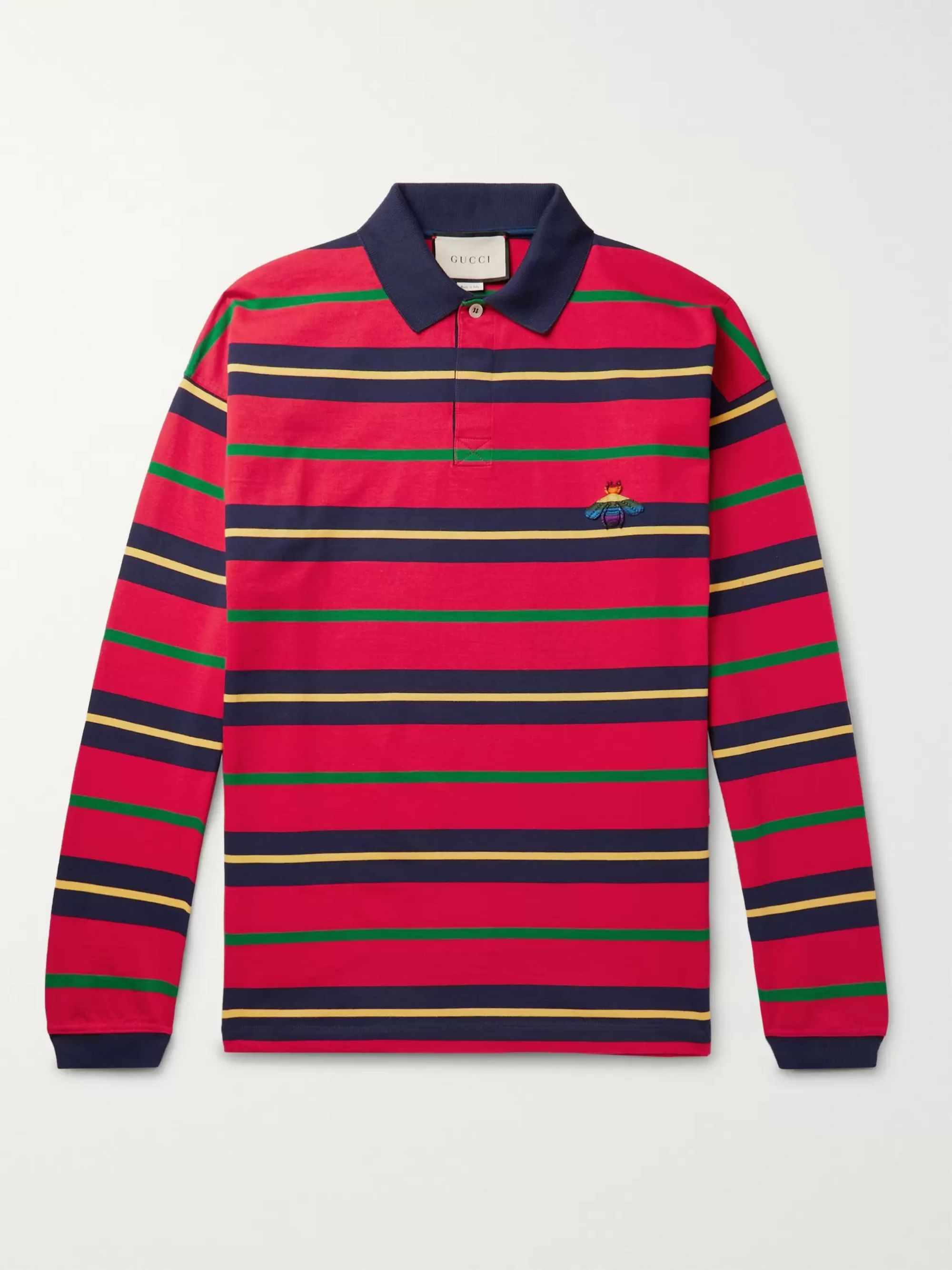 Appliquéd Striped Cotton Jersey Polo Shirt by Gucci