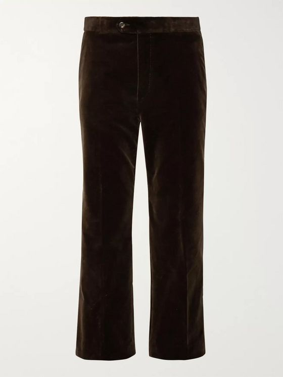 Gucci Wide-Leg Cropped Cotton-Velvet Trousers