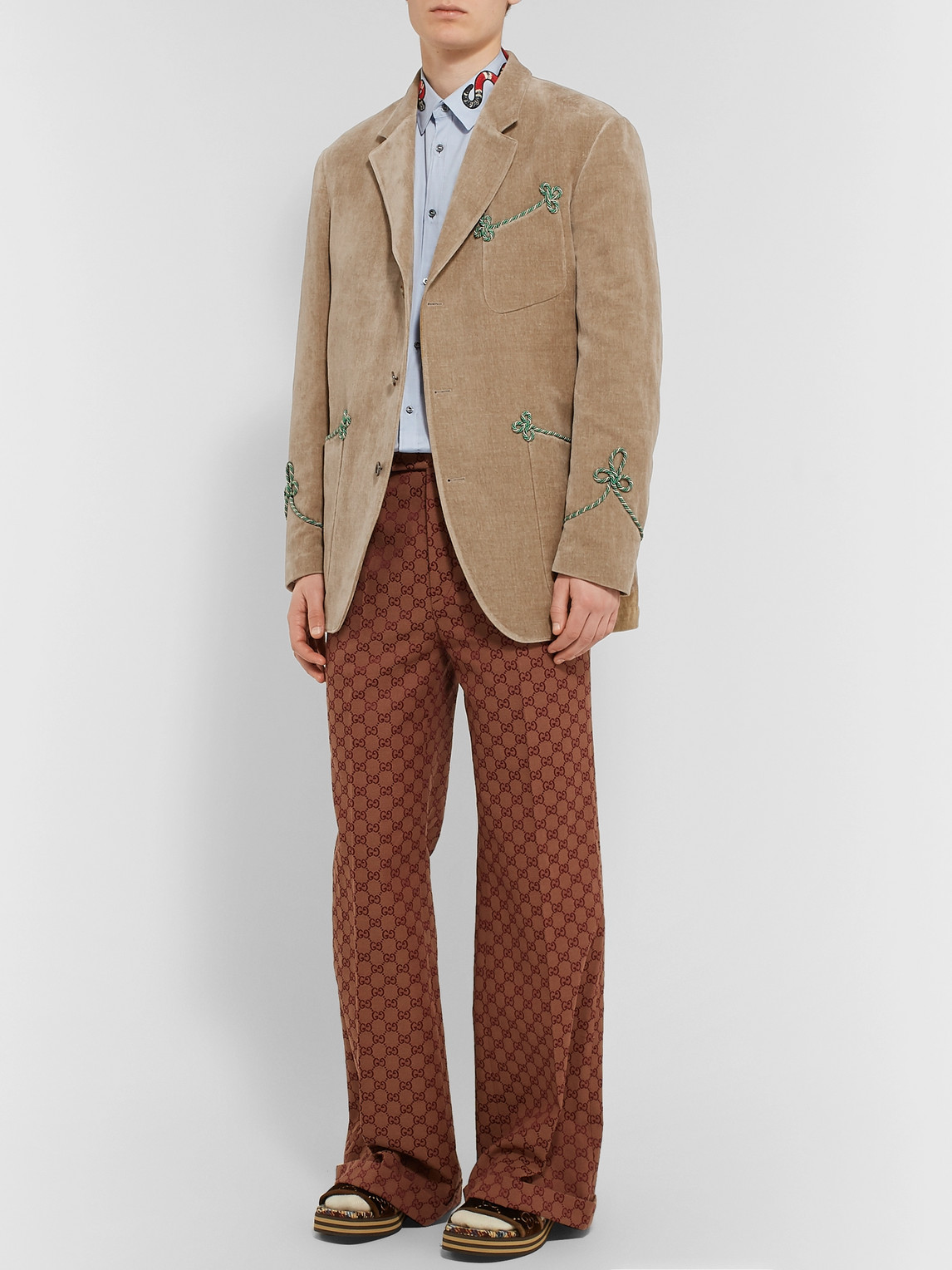 Gucci Jackets BEIGE PASSEMENTERIE-TRIMMED EMBROIDERED COTTON AND LINEN-BLEND VELVET BLAZER