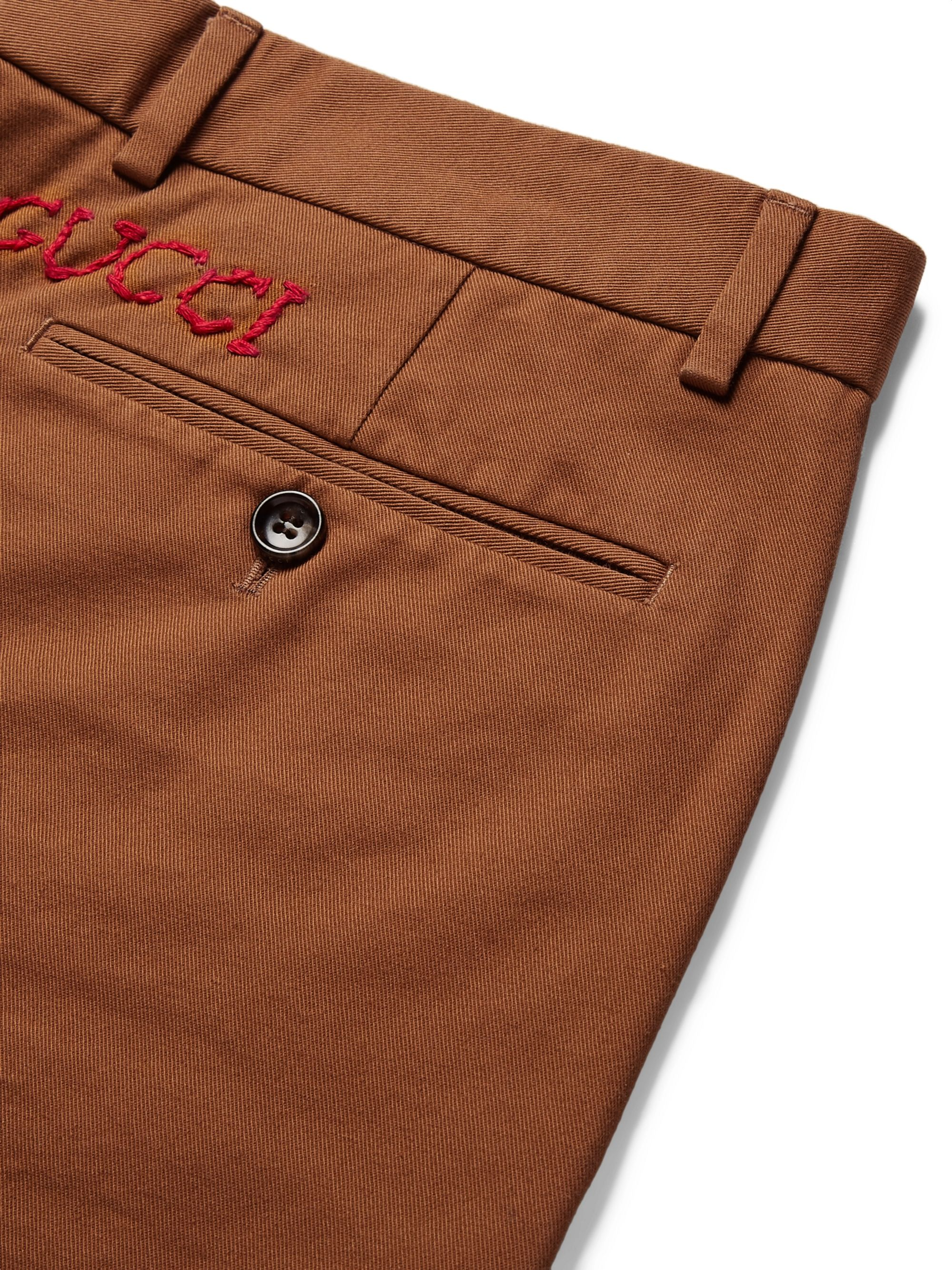 Gucci Slim-Fit Logo-Embroidered Cotton-Drill Trousers