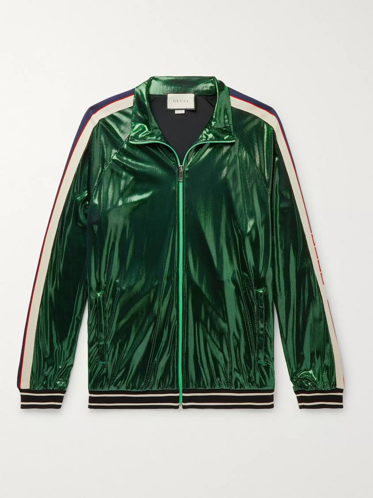 Gucci Webbing-Trimmed Coated-Jersey Track Jacket