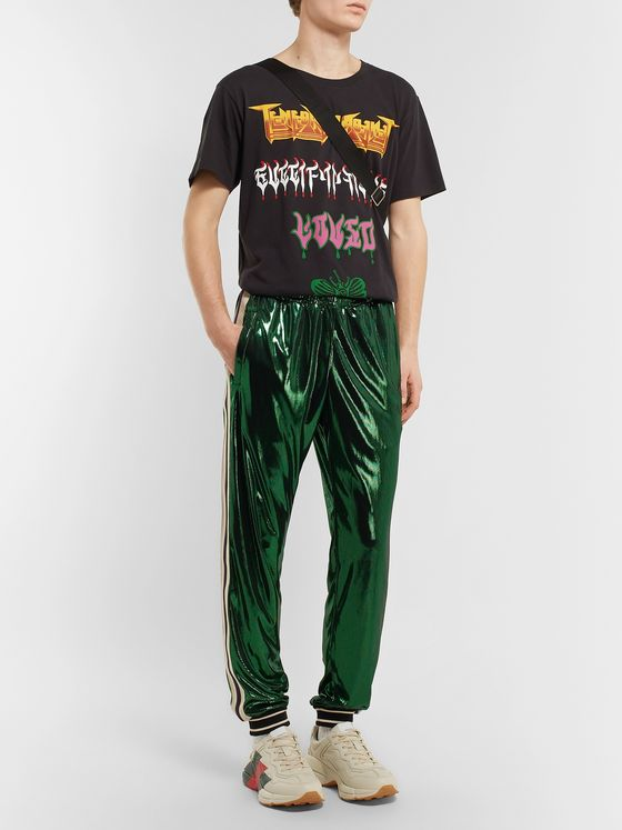 Gucci Tapered Webbing-Trimmed Coated-Jersey Track Pants