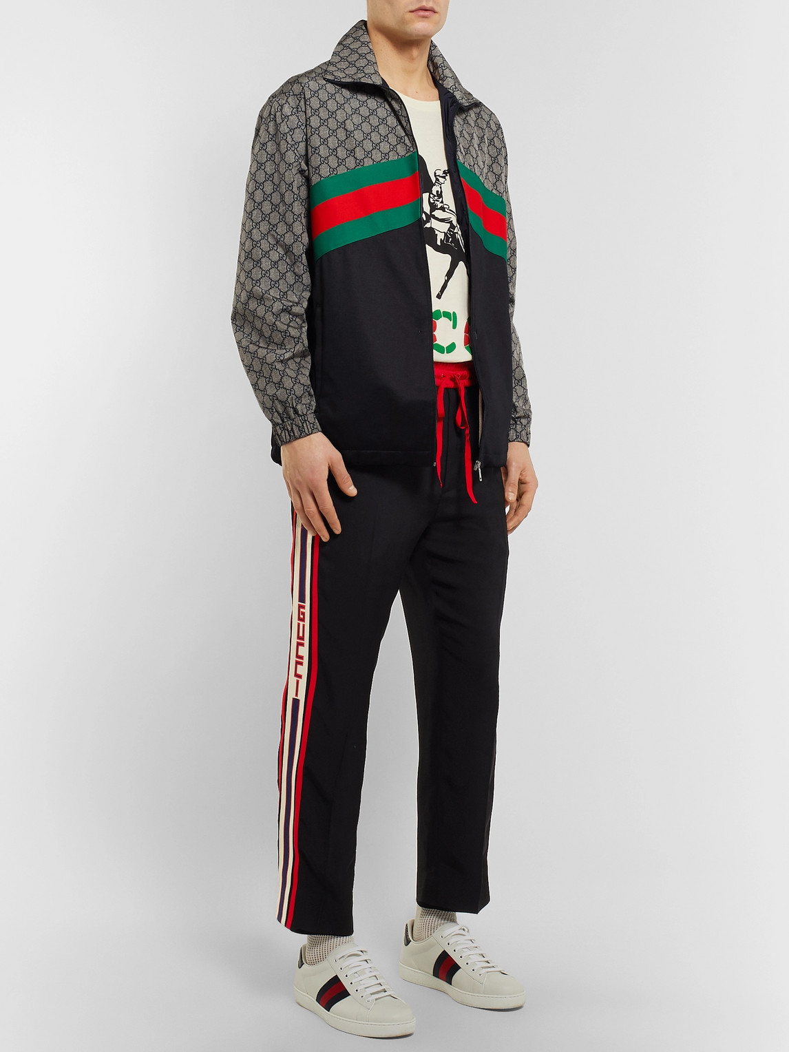 Gucci Jackets WEBBING-TRIMMED LOGO-PRINT NYLON AND TECH-JERSEY TRACK JACKET