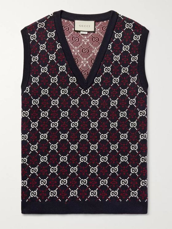 Gucci Slim-Fit Logo-Jacquard Wool Sweater Vest