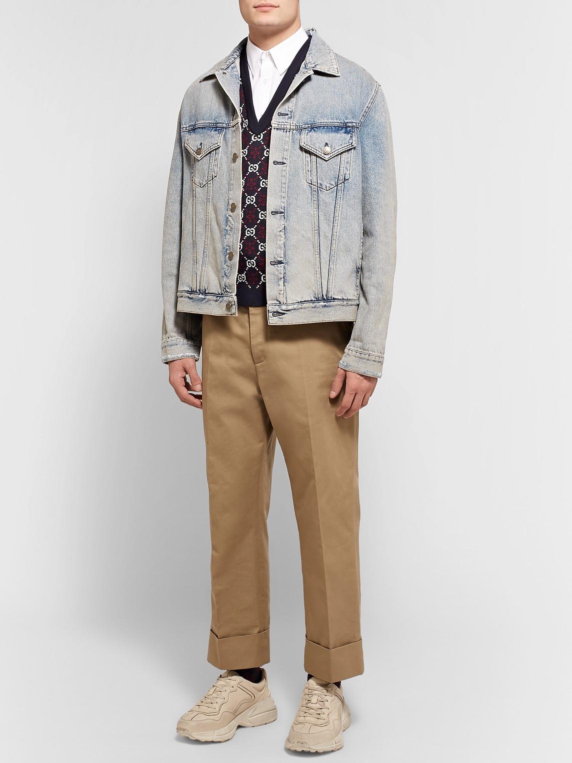 Gucci Sweaters SLIM-FIT LOGO-JACQUARD WOOL SWEATER VEST