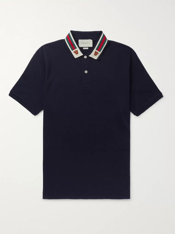 Gucci Appliquéd Webbing-Trimmed Cotton-Piqué Polo Shirt