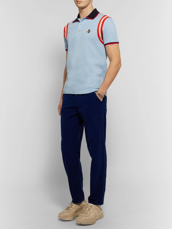 Gucci Appliquéd Striped Cotton-Blend Piqué Polo Shirt