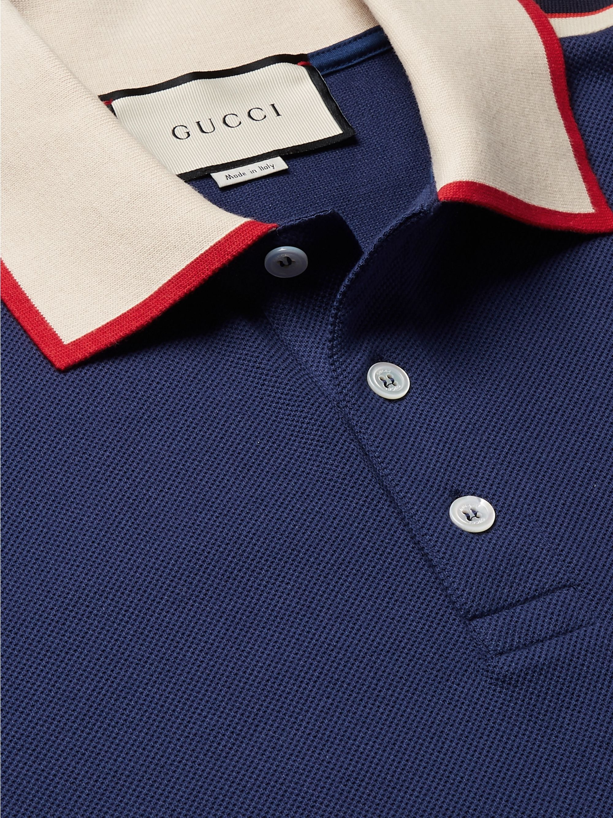 Gucci Slim-Fit Webbing-Trimmed Stretch-Cotton Piqué Polo Shirt