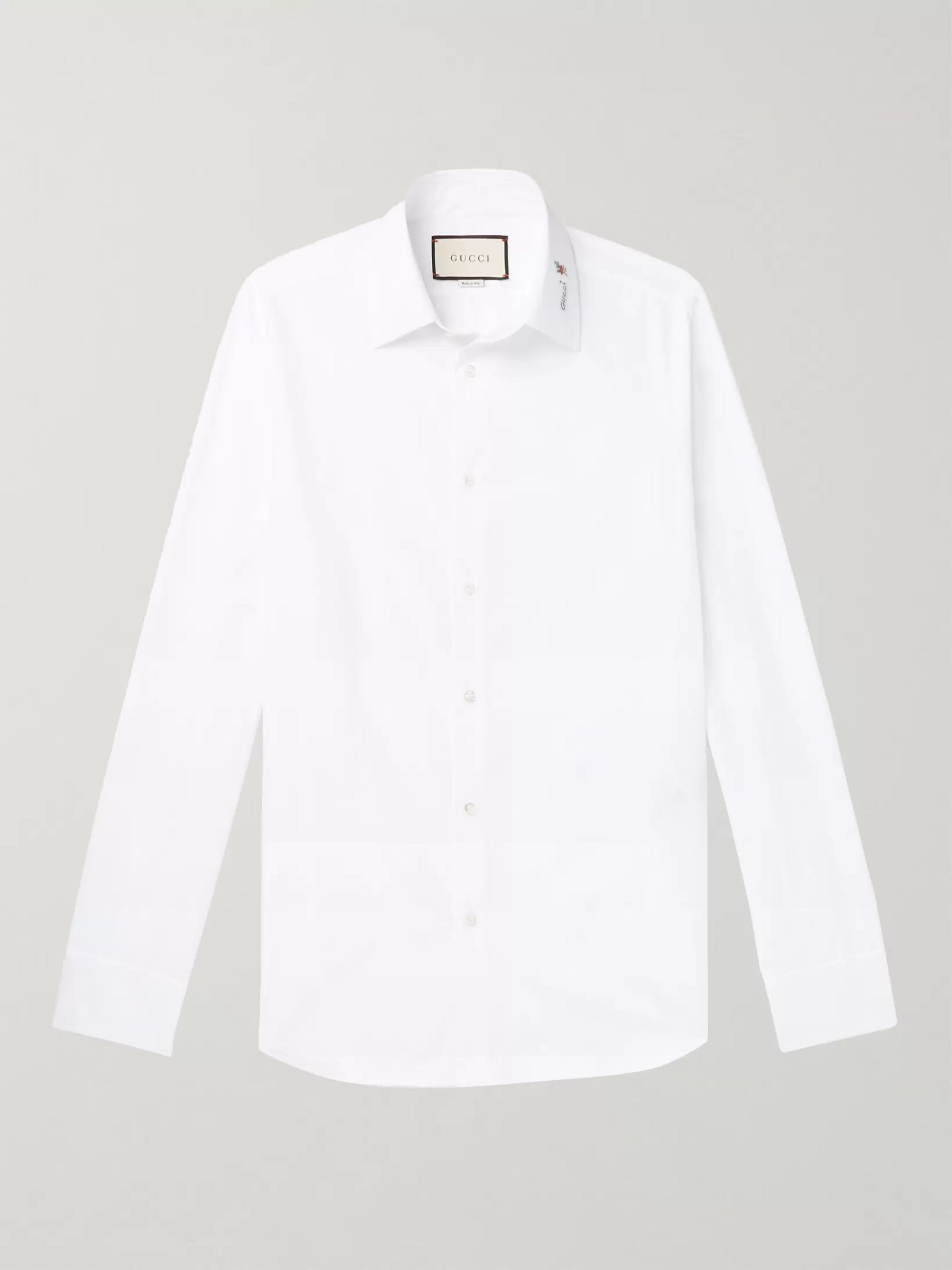 Gucci Slim-Fit Logo-Detailed Cotton Shirt