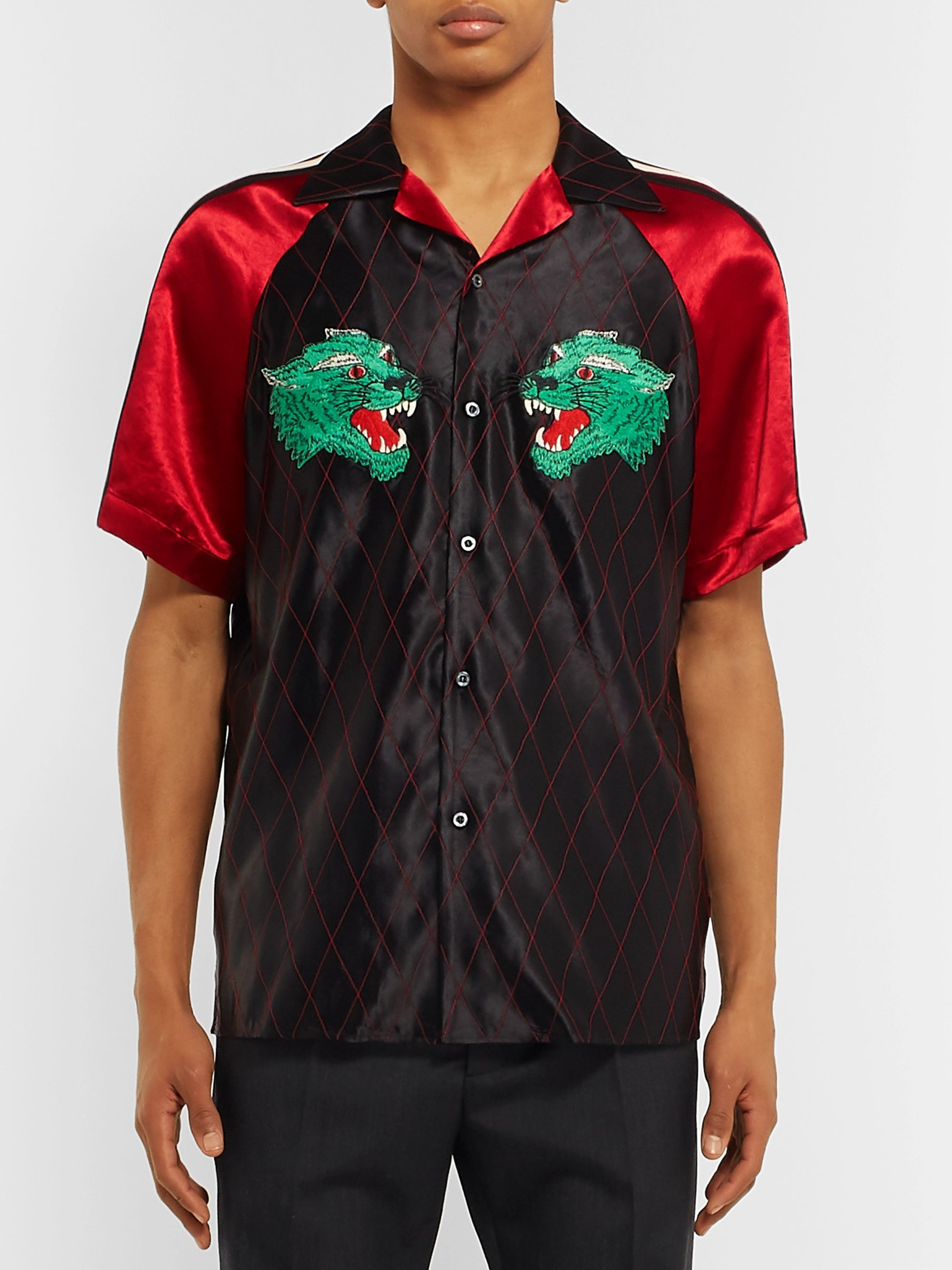Gucci Camp-Collar Webbing-Trimmed Appliquéd Satin Shirt
