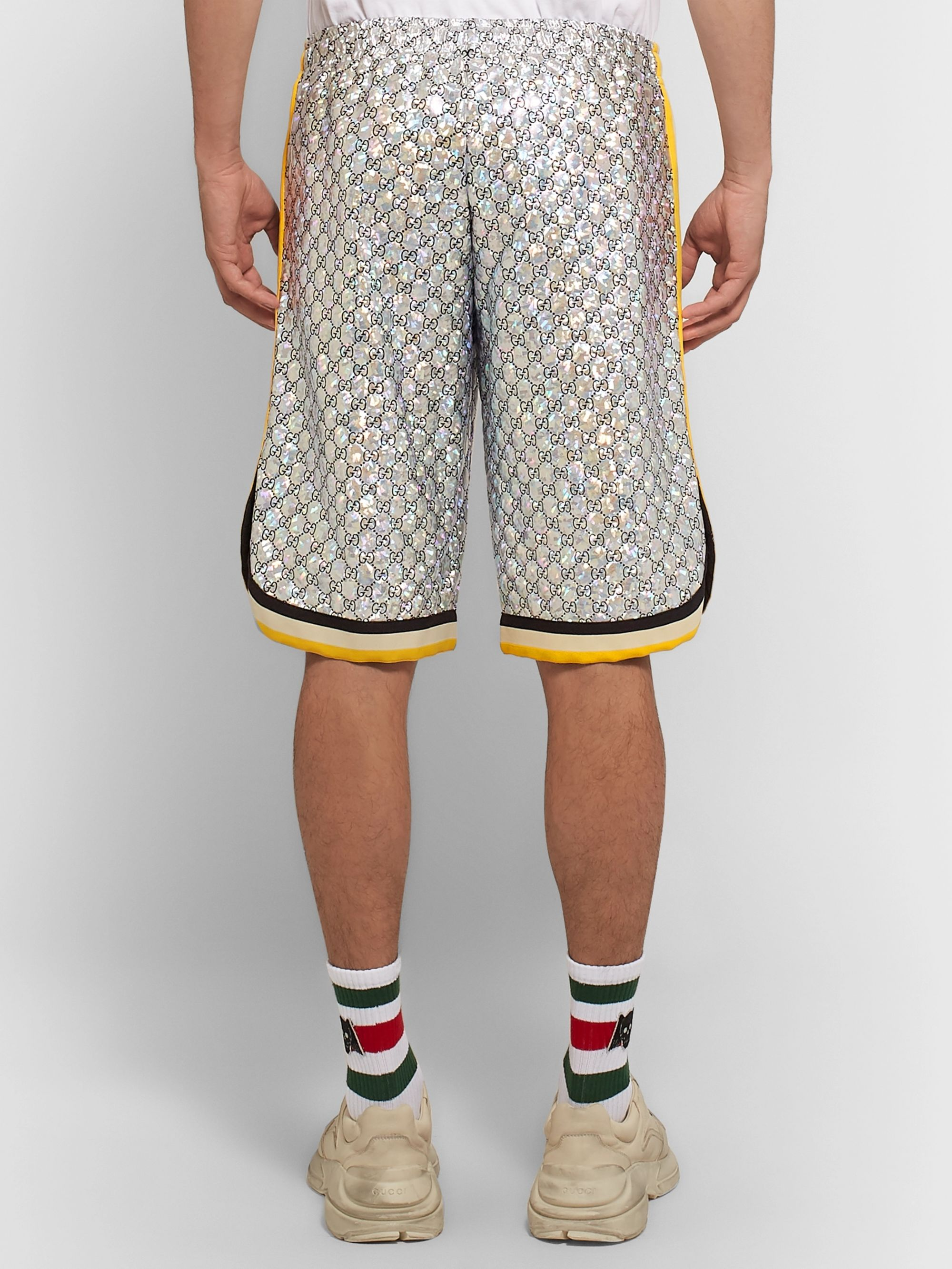 Gucci Webbing-Trimmed Logo-Embroidered Iridescent Jersey Shorts