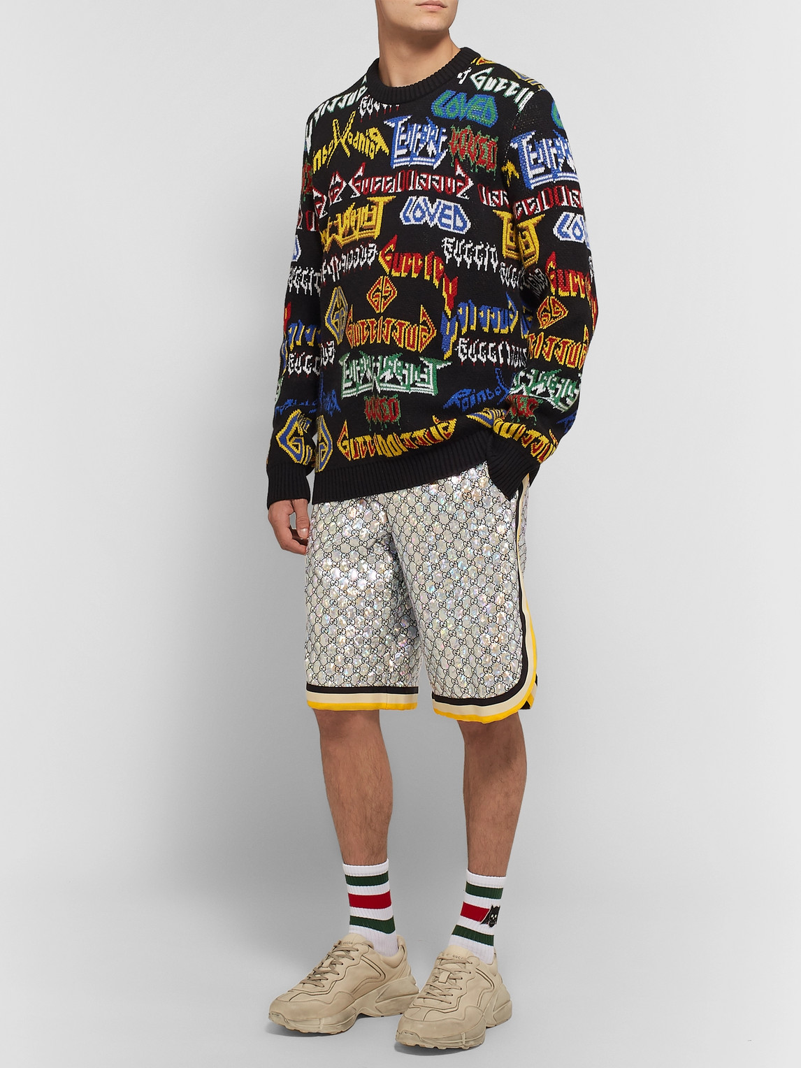 Gucci Shorts WEBBING-TRIMMED LOGO-EMBROIDERED IRIDESCENT JERSEY SHORTS