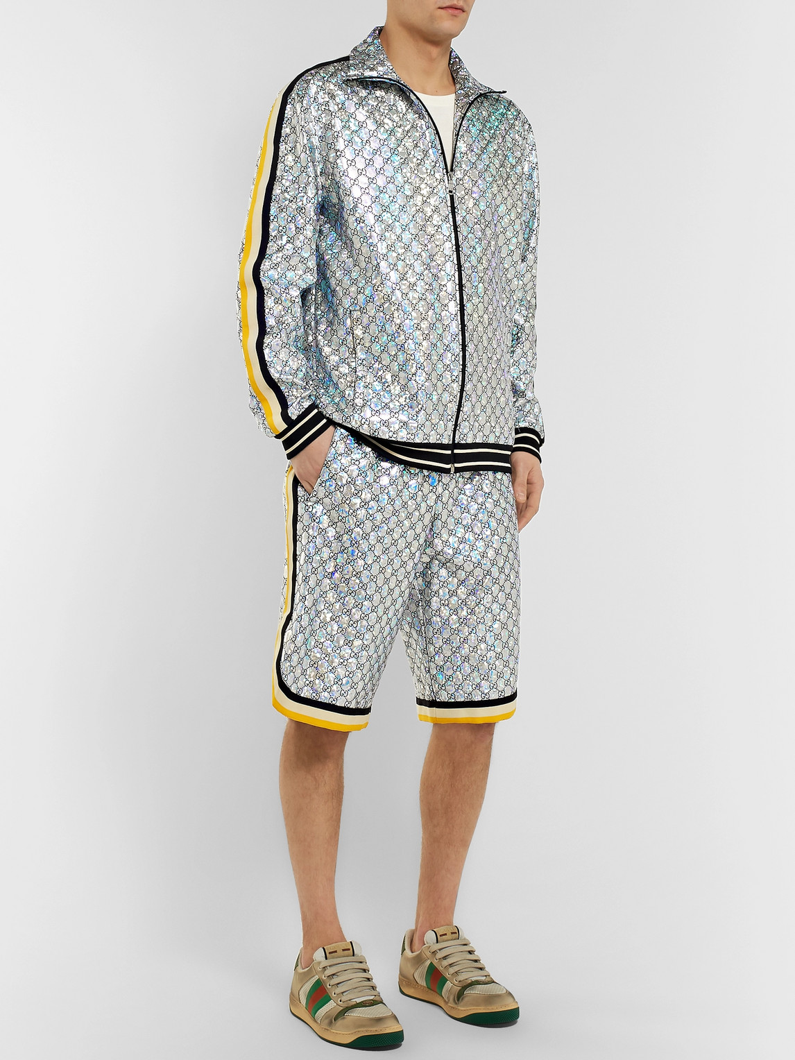 Gucci Jackets WEBBING-TRIMMED LOGO-EMBROIDERED IRIDESCENT JERSEY TRACK JACKET