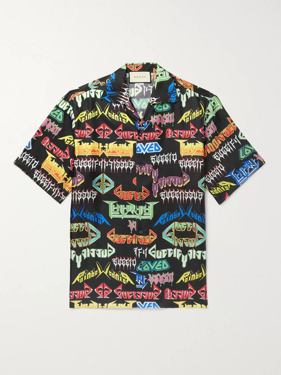 Gucci Camp-Collar Printed Silk Shirt