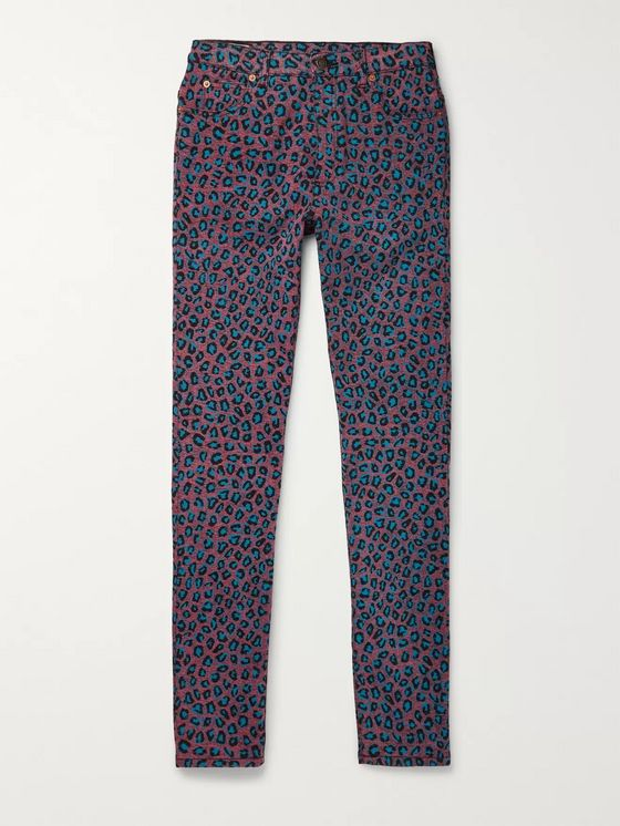 Gucci Skinny-Fit Leopard-Print Stretch-Denim Jeans