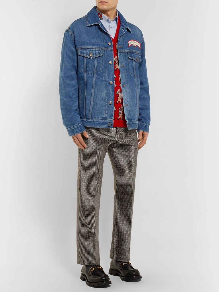 Gucci Oversized Appliquéd Denim Jacket