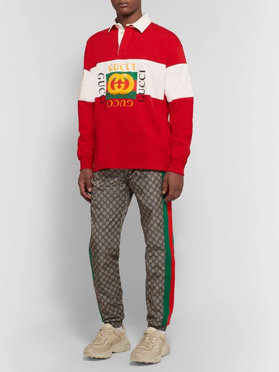 Gucci Logo-Print Striped Loopback Cotton-Jersey Rugby Shirt